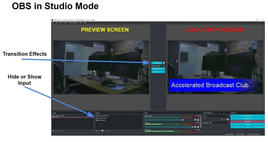 OBS in Studio Mode