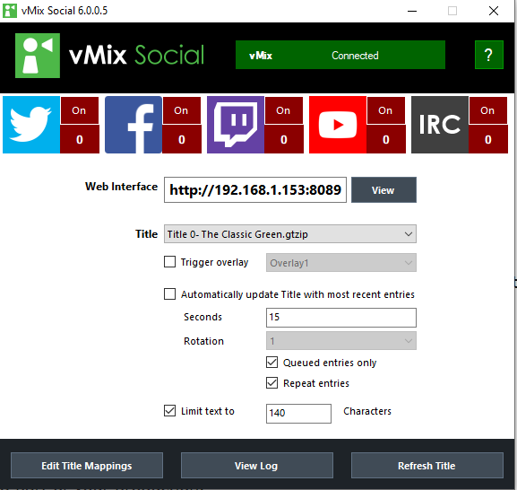 vMix Social Inerface