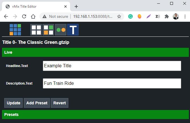 vmix web controller editing titles