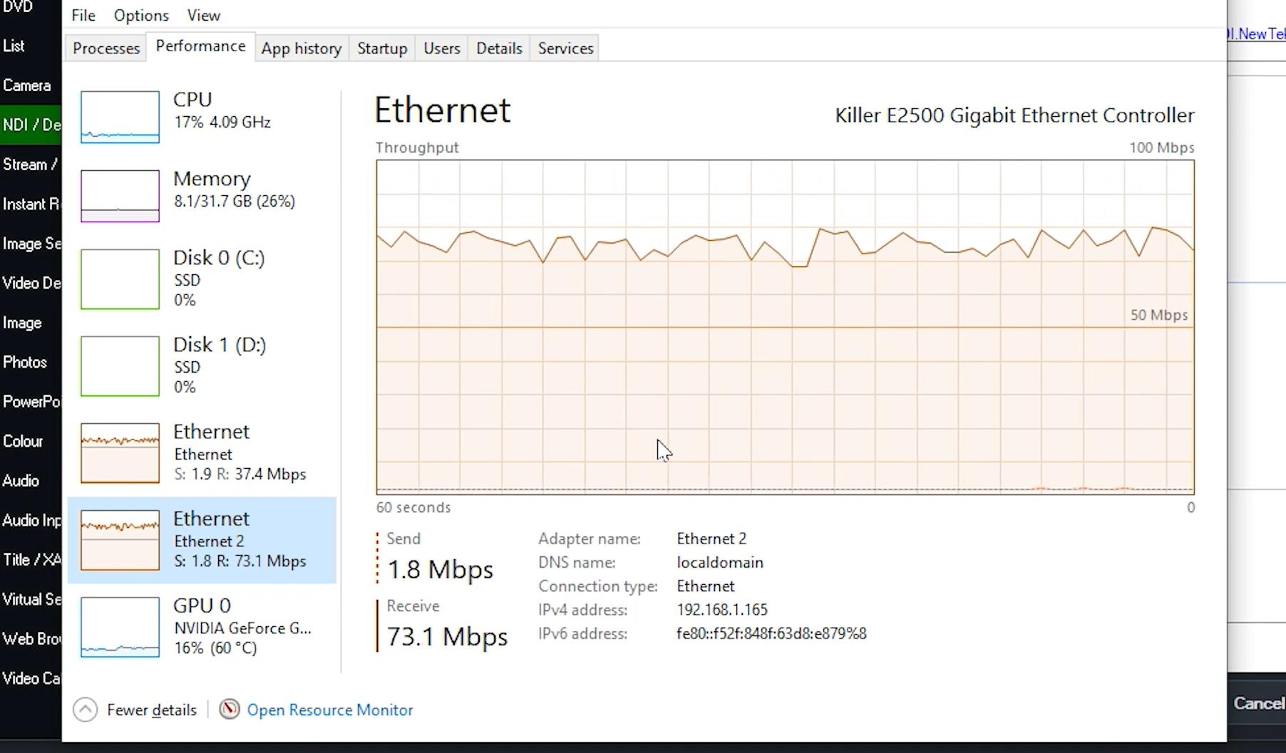 NDI in Zoom bandwidth