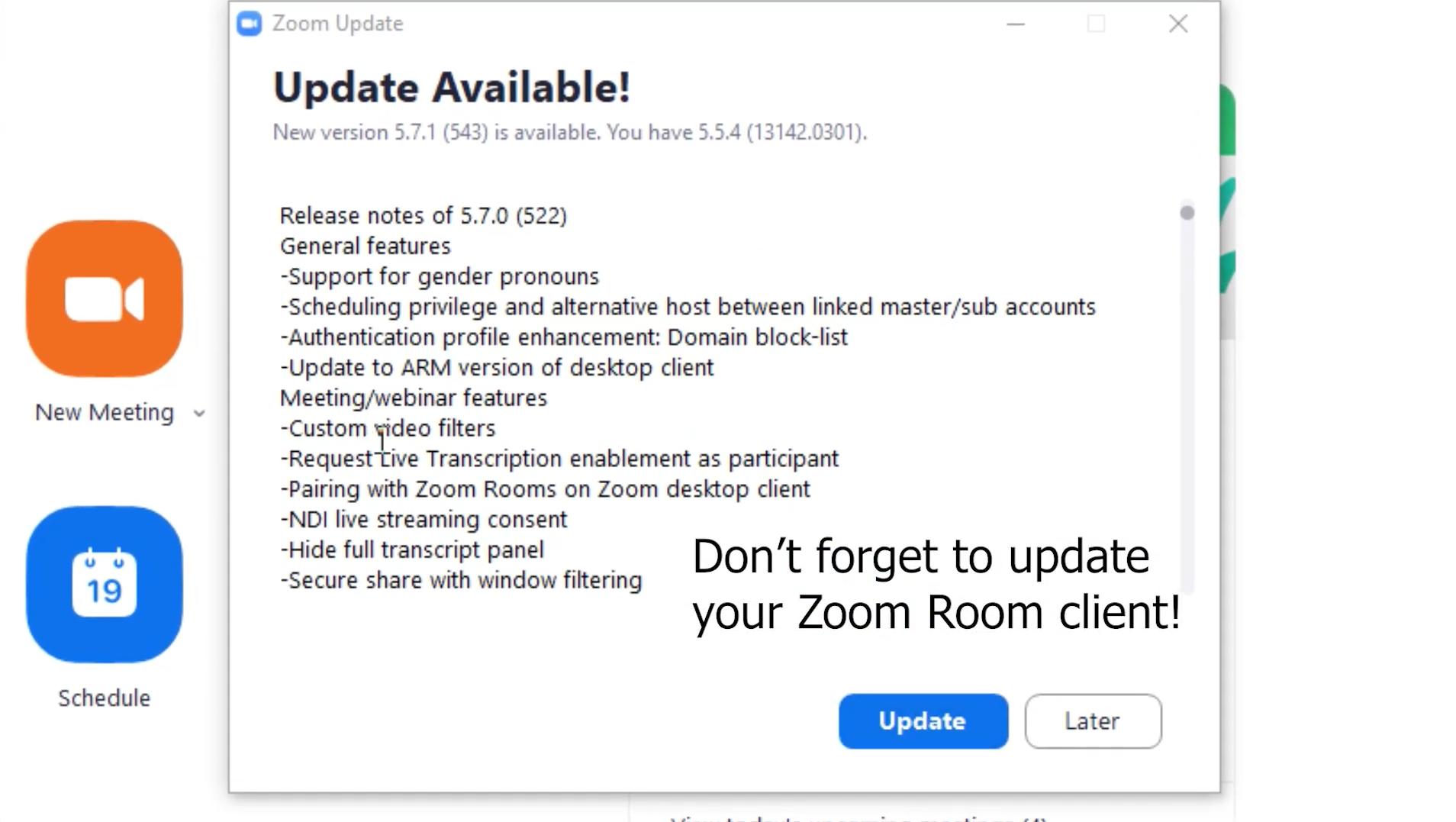 Zoom room update